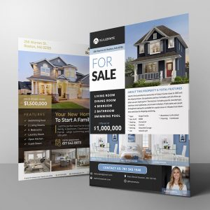 real estate flyer and postcard photoshop template